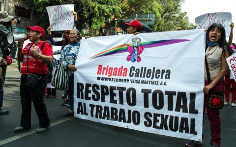 Independent sex workers march on 1 May 2017, International Labour Day, in La Merced, Mexico City. Photo credit: Brigada Callejera. Used with permission, all rights reserved.